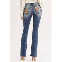 Floral Fresh Slim Fit Mid Rise Boot Cut