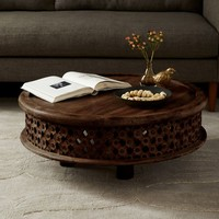 Carved Wood Coffee Table - Café