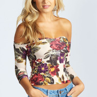 Lily Floral Sweetheart Neck Off The Shoulder Top