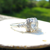 1930s Diamond Halo Engagement Ring, Stunning and Very Fiery European Cut in Platinum, Fine Maker JR Wood, Art Deco Period