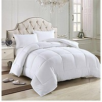 Solid White Home Double Fill Down Alternative Comforter Microfiber Cover Medium Weight for All Season