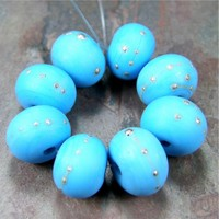 Opaque Dark Sky Blue Handmade Lampwork Glass Beads 228 Shiny (Choices of Etched, .999 Fine Silver, Shapes, Sizes, Large Hole Beads Extra)