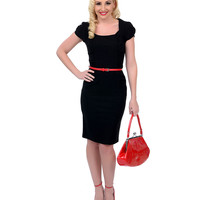 1940s Style Black Cap Sleeve Belted Stretch Wiggle Dress