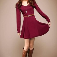 Maroon Long Sleeves Girlish Flared Dress with Open Shoulders