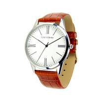 TOKYObay Oxford Roman Watch with Roman Numeral Dial and Brown Leather Strap