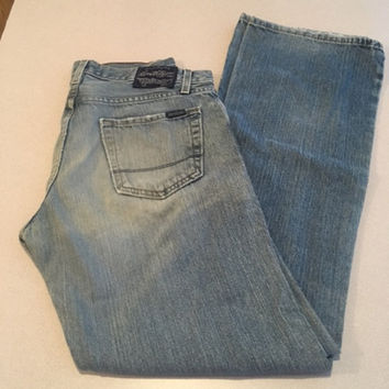 Men's Vintage 527 Levi's, Low Slim Bootcut Jeans, 32 x 34 Thrashed Levi's Medium Wash, Made in Columbia, Heavily Distressed Ripped Jeans