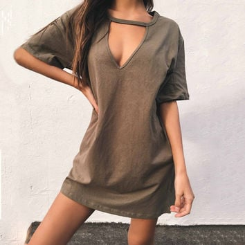 Hot Sale Strong Character V-neck T-shirts Sexy Slim One Piece Dress [11745144655]
