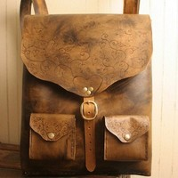 Grace Backpack - Leather in Antique Brown and Brass   moxieandoliver - Bags & Purses on ArtFire