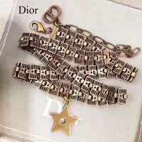 Dior Retro Stylish Women Personality Star Pendant Necklace Jewelry Accessories