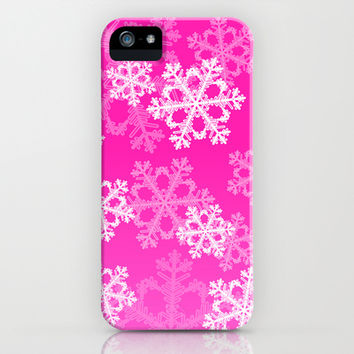 Cute pink snowflakes iPhone & iPod Case by Silvianna