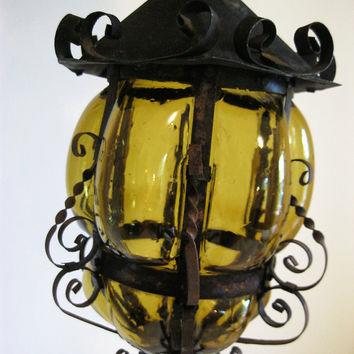 Vintage Mexican Amber Blown Glass Lantern With Wiring Fixture