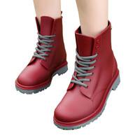 Women Rain Boots Lace-up Ankle Martins Shoes Plain Flap Casual Walking Waterproof Rubber Shoes Spring Fall Woman Rainboot 131091