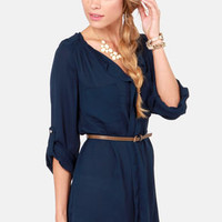 Keep It Real Belted Navy Blue Shirt Dress