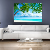 15x11 Digital printed Canvas palm tree beach to your wall sunshine beach holiday picture (size: 15x11 inch plus border).