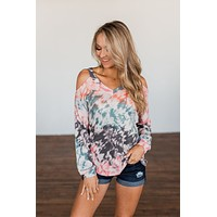 That's The Way Tie Dye Cold Shoulder Top- Multi