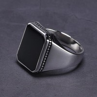 Real Solid 925 Sterling Silver Ring Simple For Men Imitated Black Stone Square Flat High Polishing Middle East Turkish Jewelry