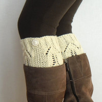 Lace boot cuffs cream hand knitted boot toppers boho gift under 25 Choose your color Made to Order