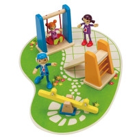 Hape Modern Family 3 Bendable Wooden Dolls with Wooden Park Playground