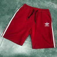 Adidas shamrock classic triple bar five-color sports pants summer men's god pants pure cotton terry casual baggy shorts