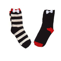 TWO FOR 10 One Size Ankle Boot Bow Striped White and Bold Brown Orange Socks