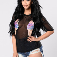 Ice Cream Baby Top - Black