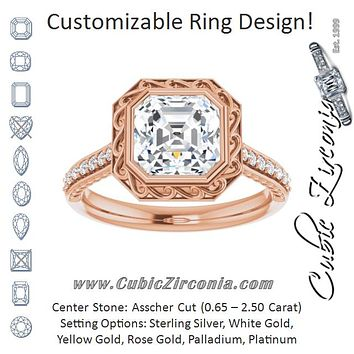 Cubic Zirconia Engagement Ring- The Itzayana (Customizable Cathedral-Bezel Asscher Cut Design featuring Accented Band with Filigree Inlay)