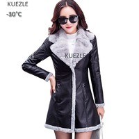 Women Fashion Plush Winter Leather Jacket 2018 Ladies Fall Motorcycle PU Fur One-piece Jacket Korean Slim Faux Leather Female
