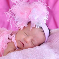New Medium Size Light Pink and White Damask with Metallic Silver Over The Top Bow on Matching Headband Free Shipping On All Addional Items