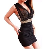 Women's Sassy Black & Gold Sequin NYE Party Dress
