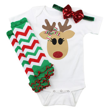 Reindeer Baby Girls Christmas Outfit with Leg Warmers and Sparkly Bow on Headband | Chevron leg warmer Christmas Outfit