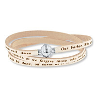 Lord's Prayer Bracelet White Leather Stainless Steel