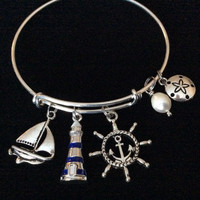 Blue Lighthouse Silver Expandable Bracelet with Anchor and Sailboat Charm and Freshwater Pearl and Sand Dollar Adjustable Wire Bangle Ocean Jewelry Gift Nautical Trendy Stacking