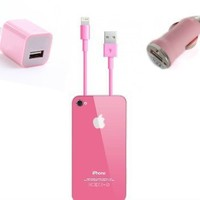 The Cool iPhone 5 Car & wall Charger & Lightning Connector (3 in 1) (Pink)