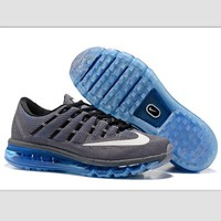 NIKE Trending AirMax Toe Cap hook section knited Fashion Casual Sports Shoes Grey white hook (blue soles)