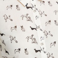 Twist on Simple Cotton Oxford Top in Dogs