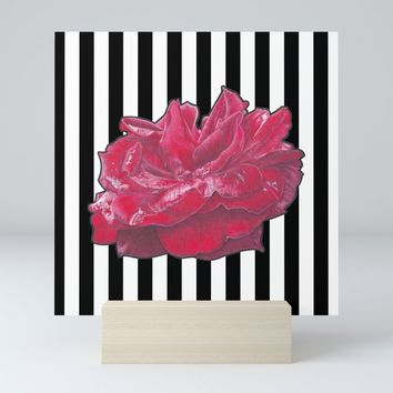 Red Rose on Stripes Mini Art Print by drawingsbylam