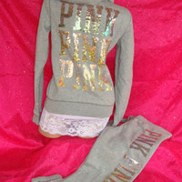 VICTORIAS SECRET SEQUIN BLING TRACK SUIT HOODIE SWEATSHIRT SWEAT PANTS L PINK