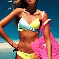 Yellow and Green Wrap Halter Top and Low Rise Bottom Bikini