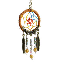 Dream Catcher Turquoise  Tree Leaf Keychain Ring For Keys DIY Bag Key Chain Gift Jewelry Accessories SN9