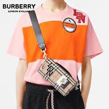 BURBERRY Fashion Women Men Casual Stripe Joining Together Short Sleeve T-Shirt Top Blouse