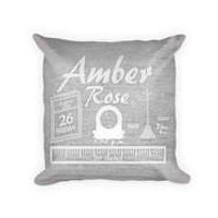 Baby Girl Birth Announcement I Woven Cotton Pillow