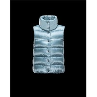 Moncler SOURCES Shiny Turtleneck Sky blue Waistcoats Techno Fabric/Polyamid Womens 414