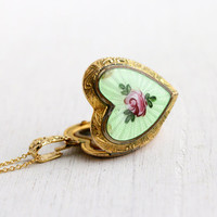 Vintage Gold Filled Guilloche Heart Locket Necklace - 1930s 1940s Sweetheart Floral Enamel Art Deco Jewelry / Original Photograph of Baby