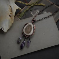 malla • amethyst necklace - crystal copper necklace - antler bead necklace - witch jewelry - made in finland - viking jewelry -pagan jewelry