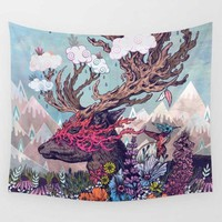 Colorful Psychedelic Deer and Flowers Wall Hanging Tapestry