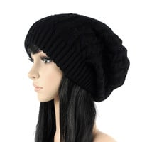 Fashion Women Beanies Skullies,5 Colors Warm Stripes Knitted Gorros Bonnet Femme,Autumn Winter Hat Cap For Girls Boys