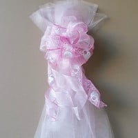 Pink Baby Shower Bow, Birth Announcement Decoration, Hospital Door Bow, Stair Mailbox Tree Topper Decoration