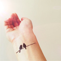Birds on Wire simple tattoo - InknArt Temporary Tattoo -  pack collection quote anchor bird love body sticker wrist