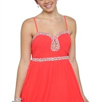 Chiffon Spaghetti Strap Dress with Stone Accents and Keyhole Cutout