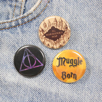 The Deathly Hallows Symbol 1.25 Inch Pin Back Button Badge
